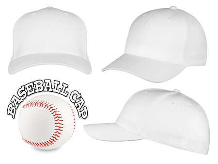 Set of white baseball caps with baseball