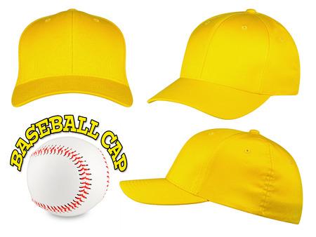 gorro: Juego de b�isbol amarillo capsula con el b�isbol