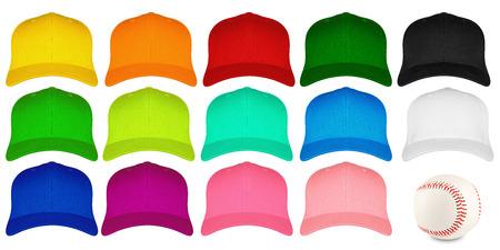 rosas blancas: conjunto de gorras de b�isbol de colores Foto de archivo