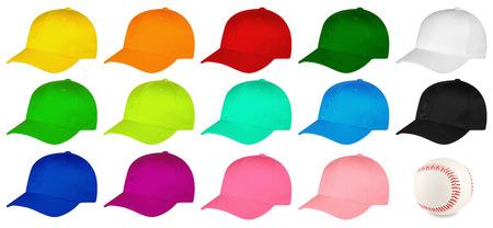 Set of colorful baseball caps