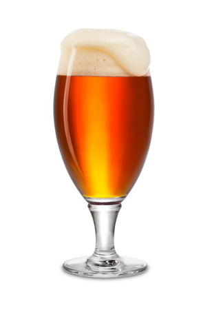 beer tulip: fresh bock beer in tulip on white background