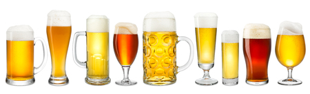 stein: Collection of fresh beer on white background Stock Photo