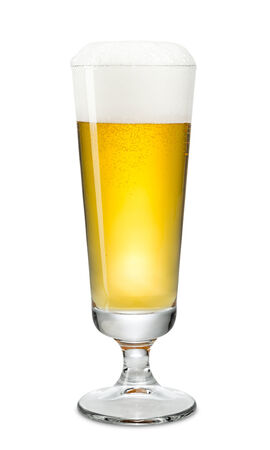 gold flute: fresh beer in cup on white background