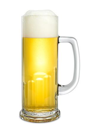 stein: fresh beer in mug on white background Stock Photo