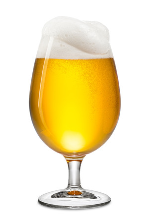 full: fresh bier in tulip on white background Stock Photo