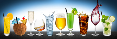 coconut drink: Row of various drinks on blue background