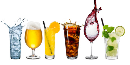 Row of various drinks on white background