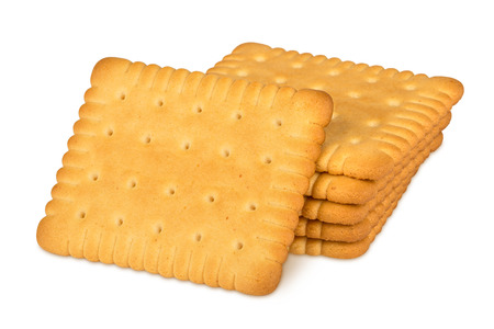 stack of butter biscuits on white background Stock fotó
