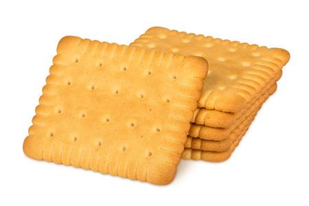 stapel boter koekjes op een witte achtergrond Stockfoto