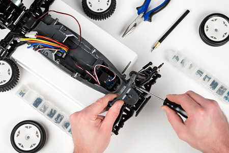 assembly of a rc car Standard-Bild