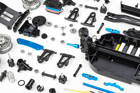 vehicle part: rc car assembly kit Stock Photo