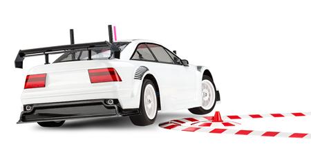 cornering: racing RC car cornering on two wheels Stock Photo