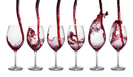 lively: row of glasses with red wine Stock Photo