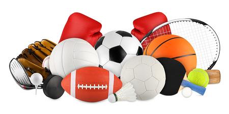 balones deportivos: equipamiento deportivo en el fondo blanco