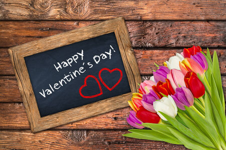s day: valentine´s day blackboard with flowers