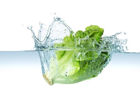 Salatkopf spritzt ins Wasser Standard-Bild - 36864484