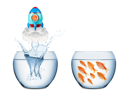 tank fish: fish leaving fish bowl with rocket