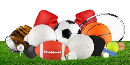 sports equipment on grass on white background 版權商用圖片