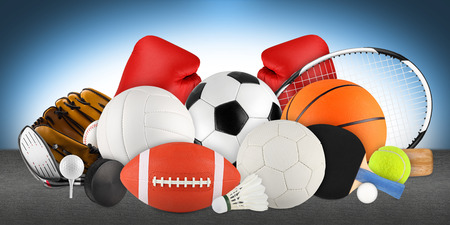 sports equipment blue background