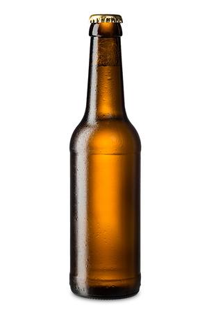 botellas de cerveza: hielo botella de cerveza marr�n fr�a