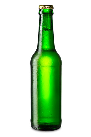 green beer: ice cold green beer bottle Stock Photo