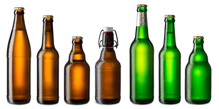 set of cold brown and green beer bottles photo