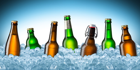 green and brown beer bottles on ice