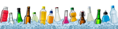 soft object: row of various beverage bottles on ice