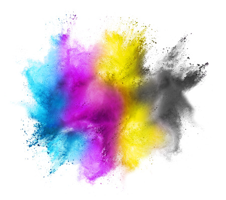 printers: CMYK colored dust cloud on white background Stock Photo