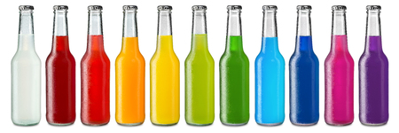 row of ice cold colorful soft drinks Standard-Bild