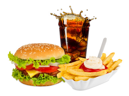 drink and food: Fast food meal on white background