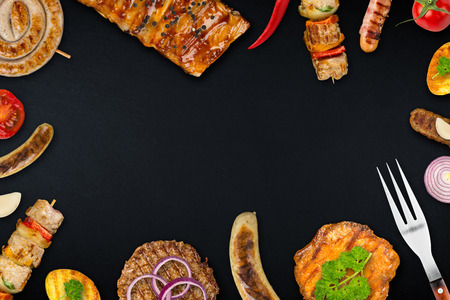 grilled food on slate Stock Photo