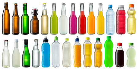 energy drink: collection of various cold beverage bottles
