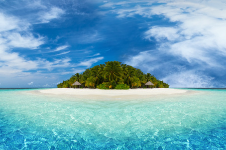 beach panorama: paradise tropical island with coco palms and white sandy beach