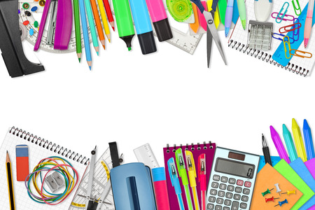 school / office supplies on white background Imagens