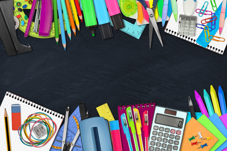 office supplies: school  office supplies on slate background