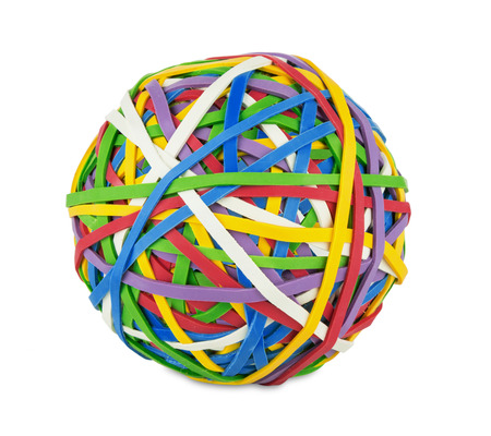 rubber bands: rubber ball out of many colorful elastic bands on white background