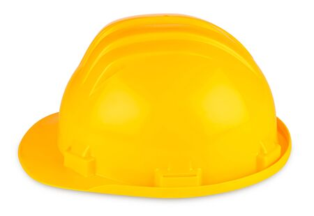 buildingsite: yellow building-site helmet on white background