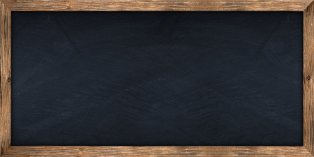 black wood texture: wide blackboard with wooden frame Stock Photo