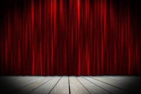cortinas rojas: escenario del teatro de madera con cortinas rojas Foto de archivo