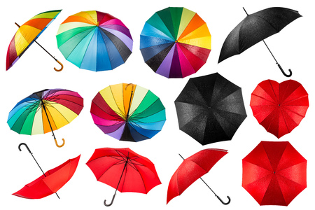 rainbow umbrella: collection of black red and rainbow umbrellas isolated on white background