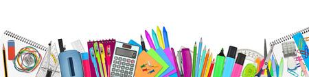 utiles escolares: suministros de la escuela  oficina en el fondo blanco Foto de archivo