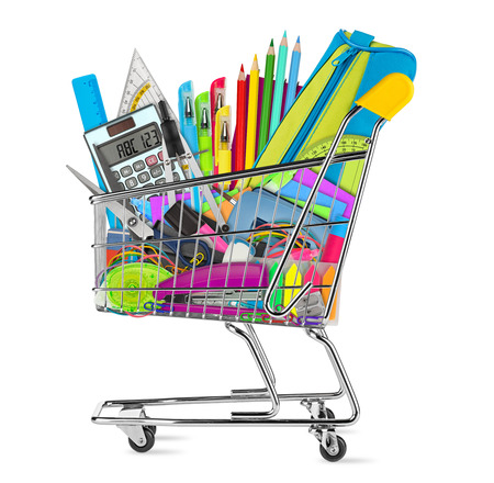 school  office supplies in shopping cart isolated on white background Stock Photo