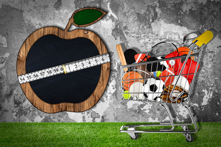 hockey cesped: shopping cart filled with sports equipment in front of stone wall with apple shaped blackboard Foto de archivo