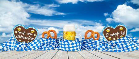 german oktoberfest beer mug gingerbread hearts and pretzel in bavarian flag