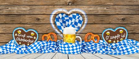 stein: german oktoberfest beer mug gingerbread hearts and pretzel in bavarian flag