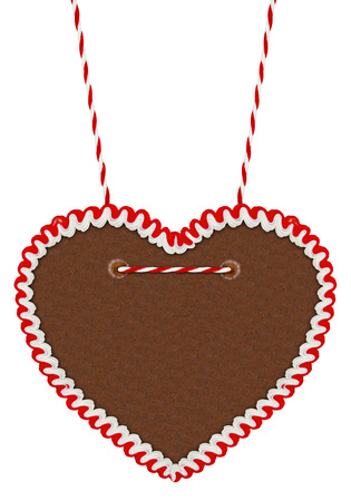 gingerbread heart: empty gingerbread heart isolated on white background