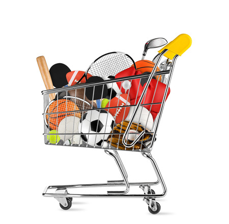 shopping cart filled with sports equipment isolated on white background Imagens