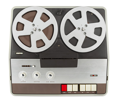 electronics: old retro tape recorder isolated on white background Stock Photo