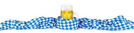 german oktoberfest beer mug in bavarian flag 写真素材